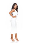 HERA WHITE DOUBLE LINED CURVE CONTOURING DRESS