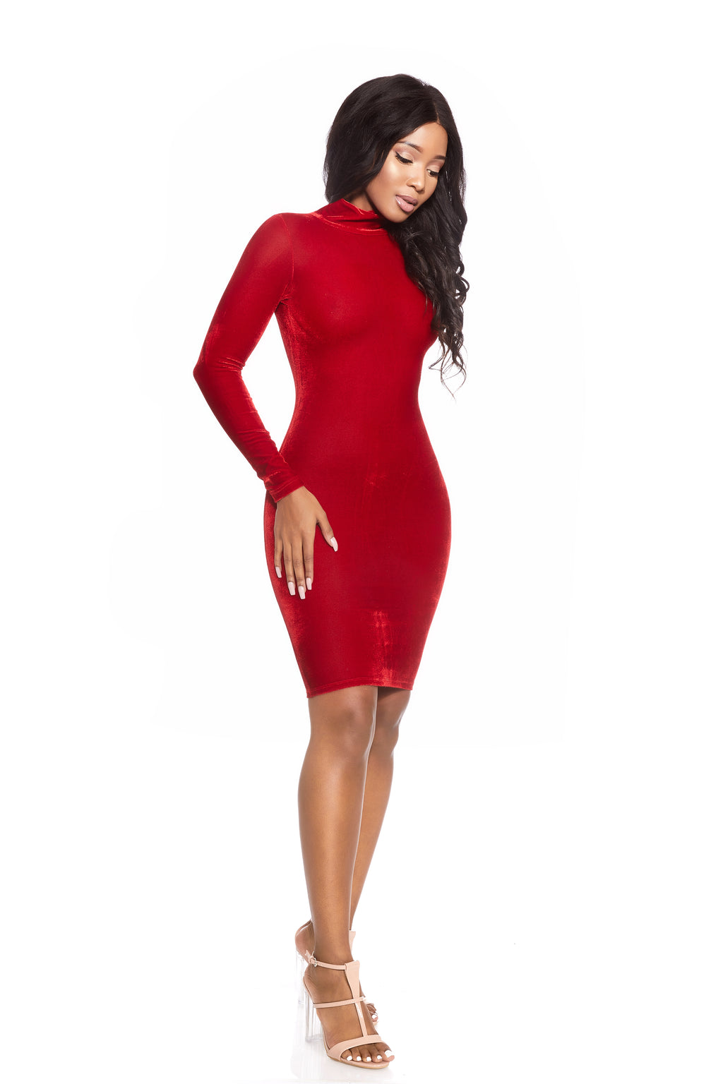 EMPORIA RUBY VELVET POLAR NECK DRESS