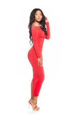 VADA ONLINE RED VENUS OFF THE SHOULDER BODYCON DRESS