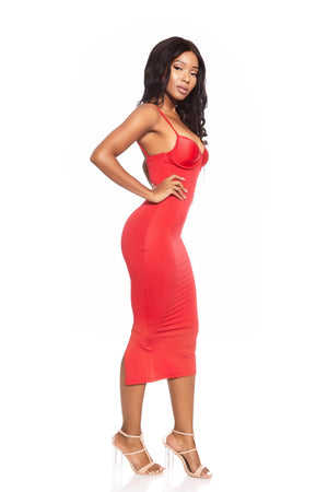 VADA ONLINE RED BUSTIER DRESS BODYCON