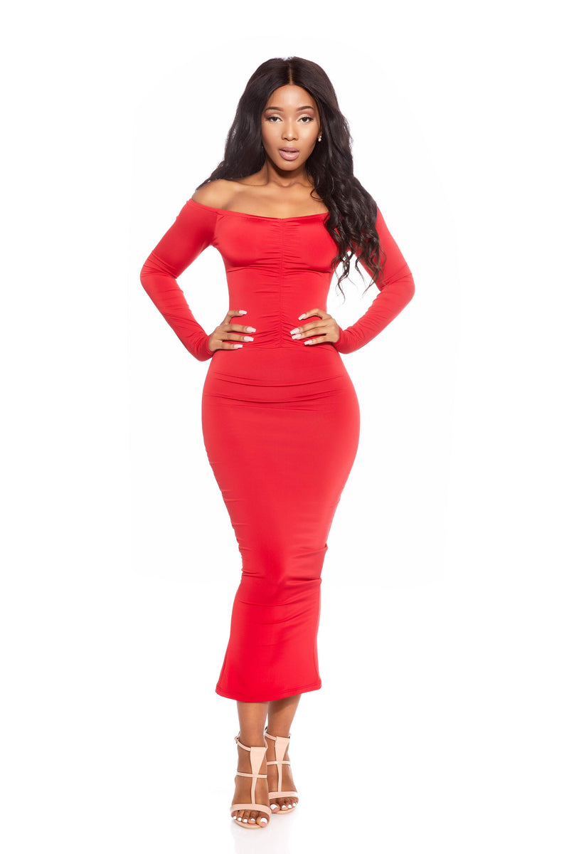 VENUS RED OFF THE SHOULDER DRESS