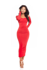 VADA ONLINE RED VENUS OFF THE SHOULDER DRESS