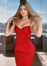 NEFERTITI RED BUSTIER BODYCON DRESS