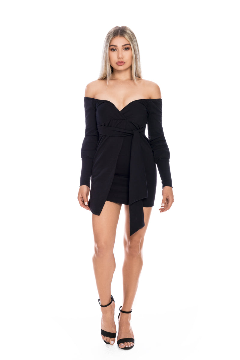 ALYSSA BLACK OFF THE SHOULDER WRAP DRESS