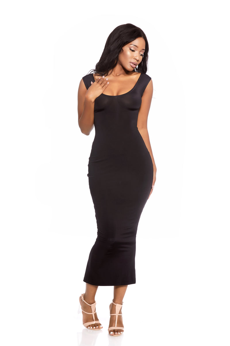 HERA BLACK CURVE CONTOURING DRESS
