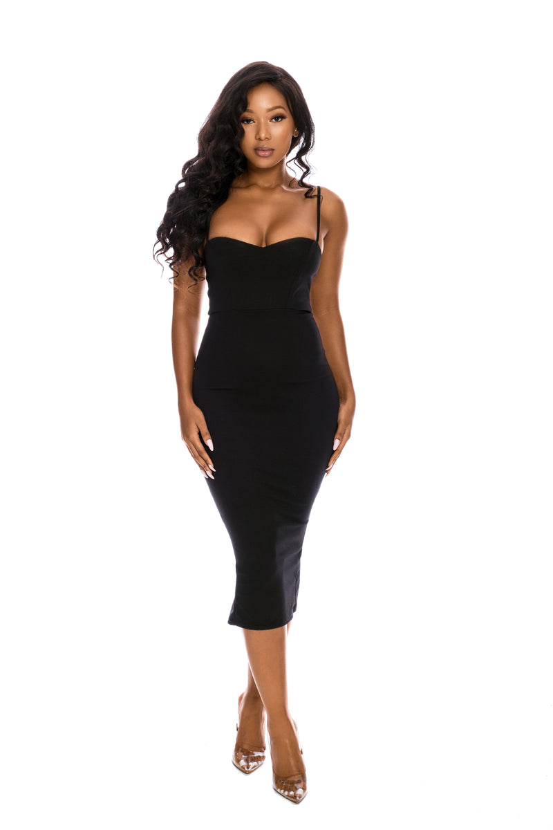 MILANA BLACK BODYCON DRESS