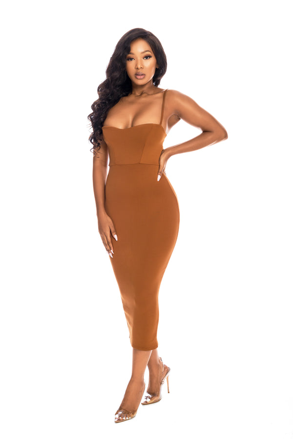 MILANA COPPER BODYCON DRESS