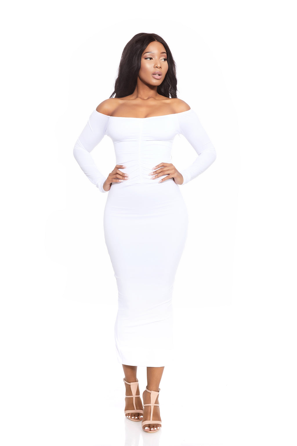 VENUS RUCHED COCONUT MILK OFF THE SHOULDER DRESS