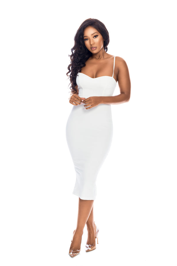 MILANA OYSTER WHITE BODYCON DRESS