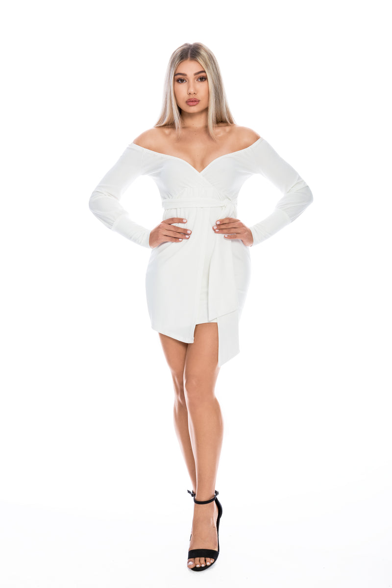 ALYSSA OYSTER WHITE OFF THE SHOULDER WRAP DRESS