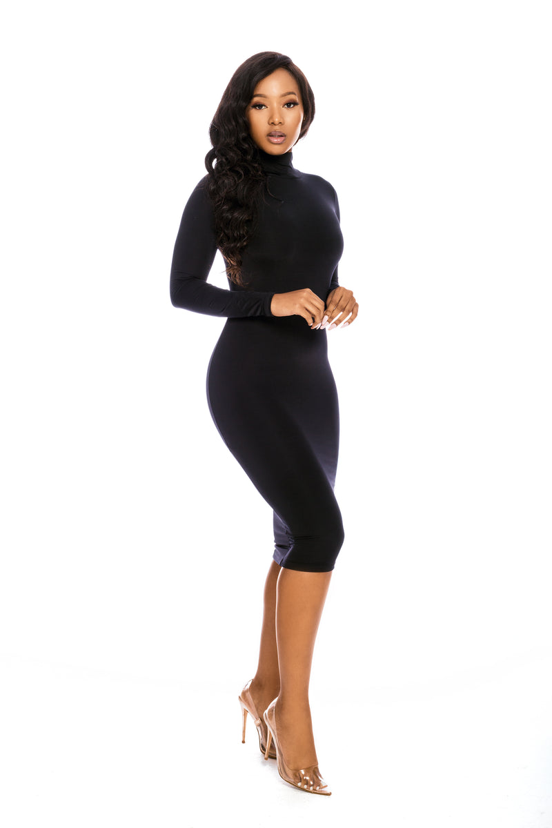 EMPORIA BLACK SLINKY POLAR NECK MIDI DRESS