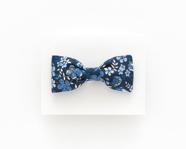 Dark blue floral bow tie