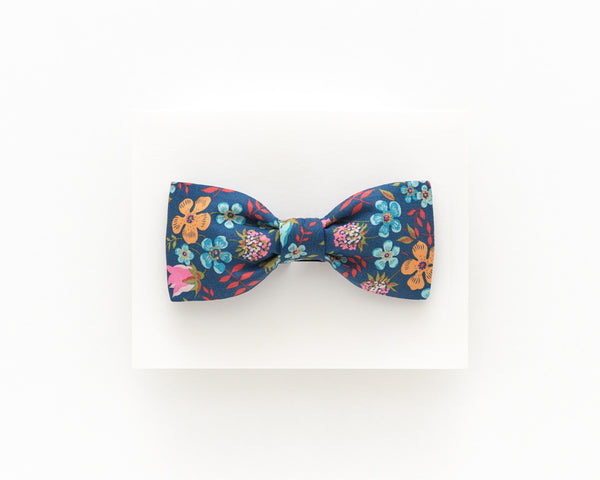 Midnight blue floral bow tie