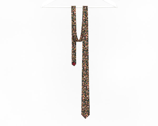 Floral tie for men, vintage tie in brown and light red - Isola tie