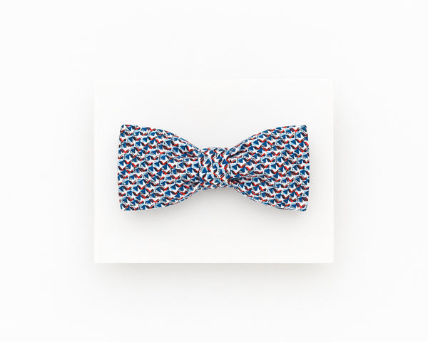 Summer wedding bow tie, blue and red geometric bow tie - Isola bow tie