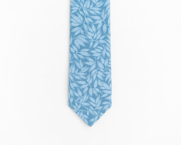 Blue floral tie, light blue boho wedding tie for men - Isola necktie