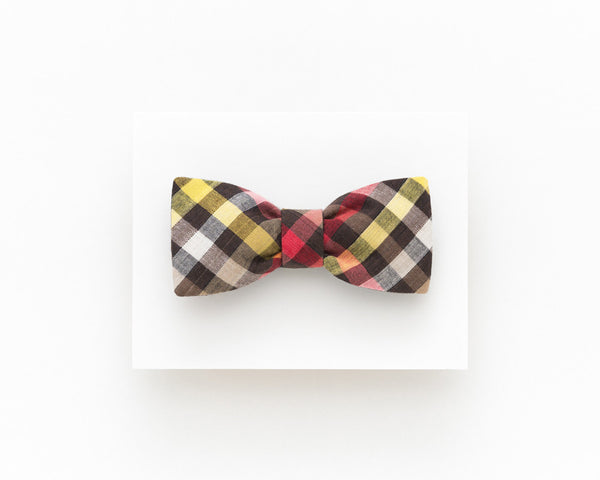 Brown vintage bow tie, brown plaid bow tie - Isola bow tie