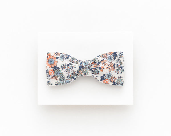 Floral bow tie orange and stone blue - Isola bow tie