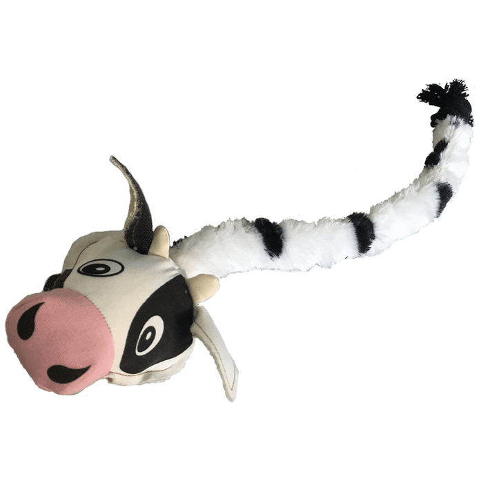 "22"" Safari Cow Animal Toy with Embedded Ball & Rope"