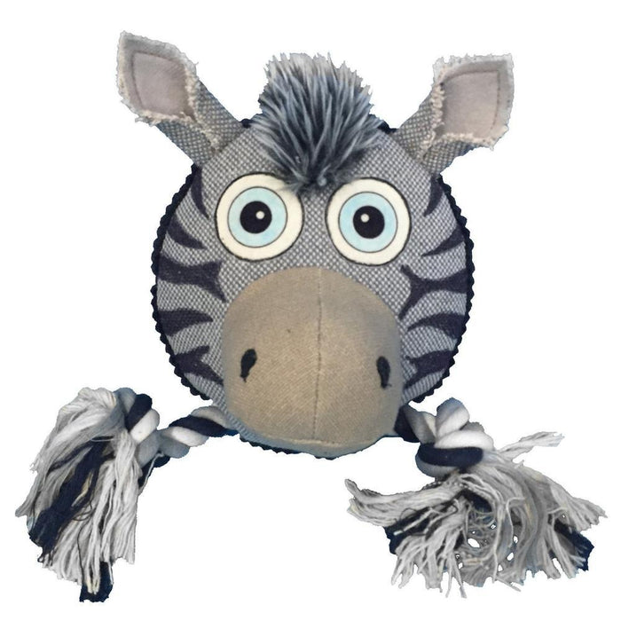 "8"" Safari Zebra Animal Toy with Ropes"
