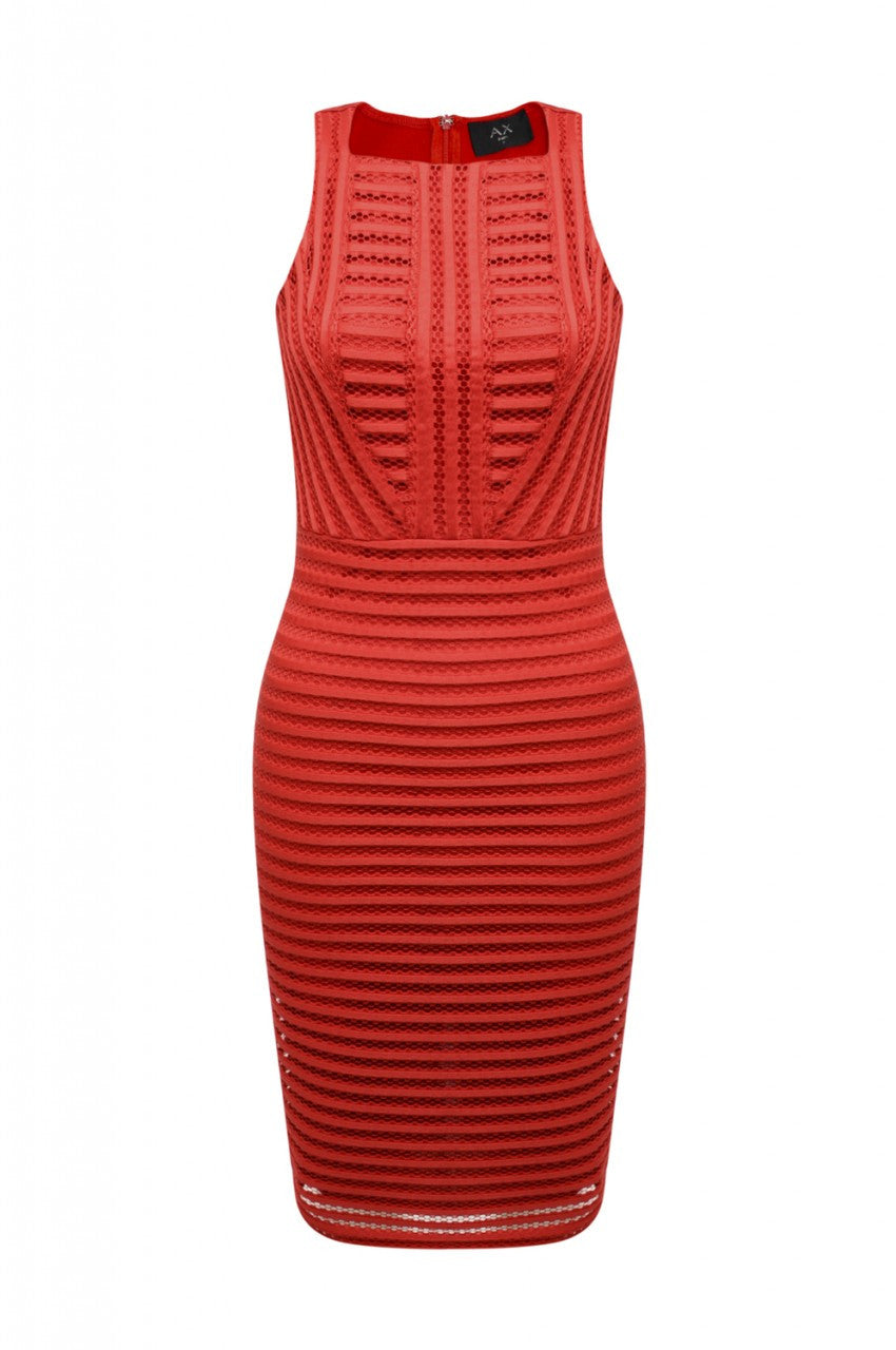 9a88253ce23 AX PARIS Ladder Detail Bodycon Midi Dress (Red) - frombeetoyou