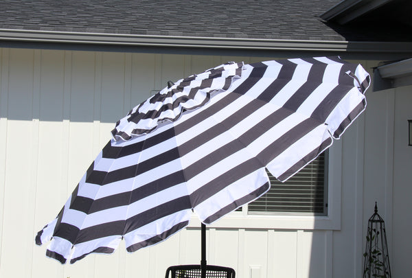 Deluxe 8 ft Black and White Stripe Patio & Beach Umbrella with Travel Bag