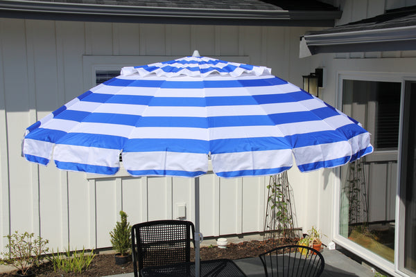 Deluxe 8 ft Royal Blue and White Stripe Patio & Beach Umbrella with Travel Bag