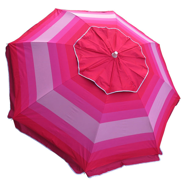 7 ft Wide Striped Red/Pink Beach Umbrella with Travel Bag