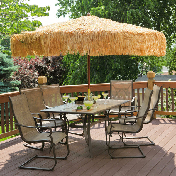 Palapa Tiki Hawiian Thatch Patio Umbrella 9 ft - Whiskey Brown