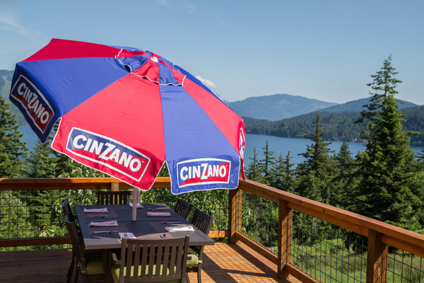 8ft Cinzano Deluxe Beach and Patio Umbrella with Storage Bag