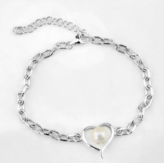 Lots of Love Sterling Silver and Pearl Bracelet