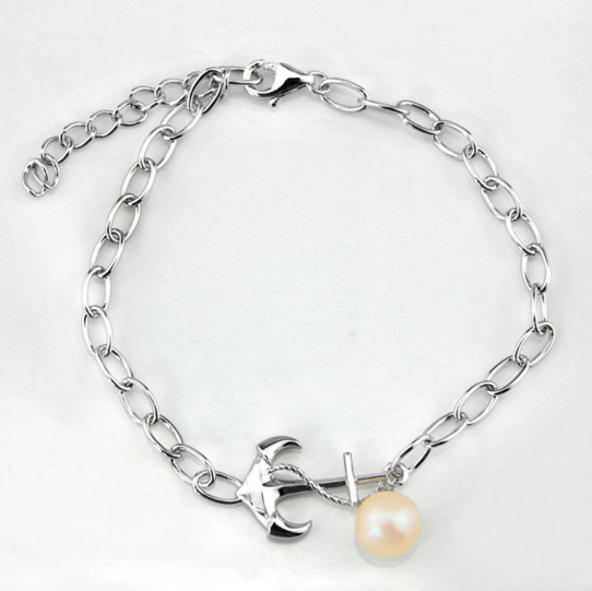 Anchors Away Sterling Silver and Pearl Bracelet