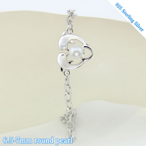 Dolphin Love Sterling Silver and Pearl Bracelet