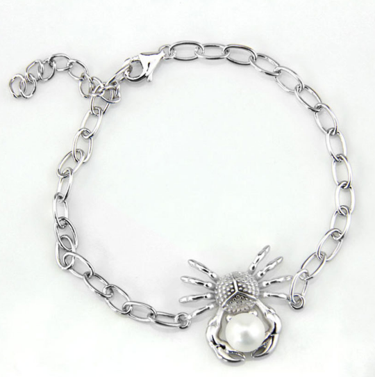 Crabby Pearl Sterling Silver and Pearl Bracelet