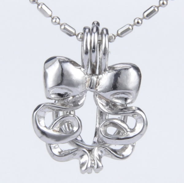 Swirling Ribbon Pearl Cage Pendant Necklace