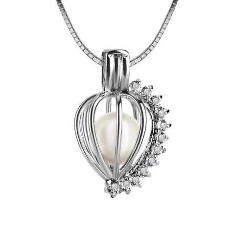 Zircon Heart Akoya Pearl Pendant Necklace