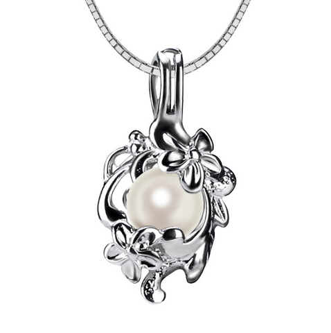 Swirl of Flowers Akoya Pearl Pendant Necklace