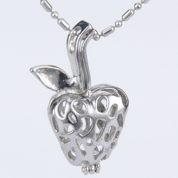 Silver Apple Akoya Pearl Pendant Necklace