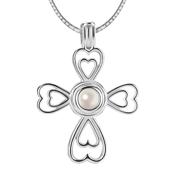 Double Heart Cross Akoya Pearl Pendant Necklace