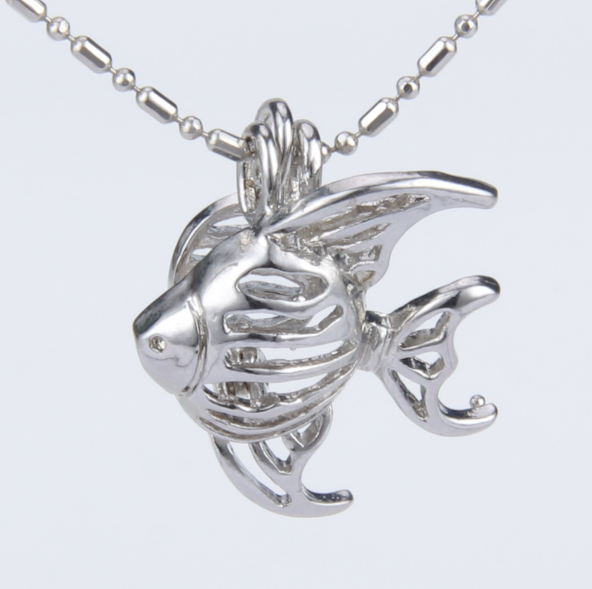 Silver Angelfish Akoya Pearl Pendant Necklace