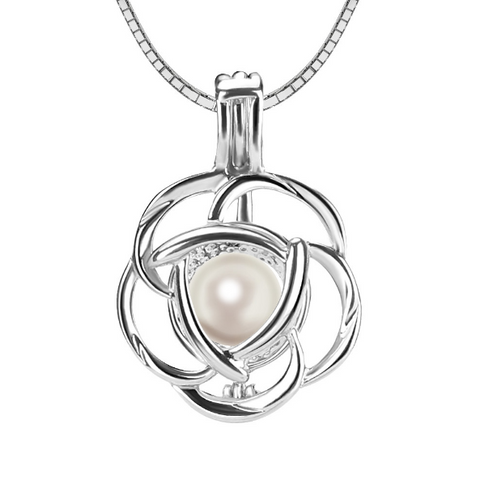 Single Rose Akoya Pearl Pendant Necklace