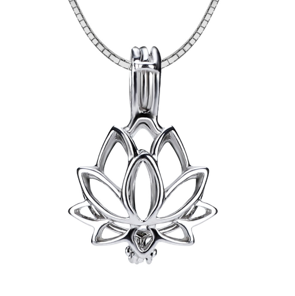 Lotus Flower Akoya Pearl Pendant Necklace
