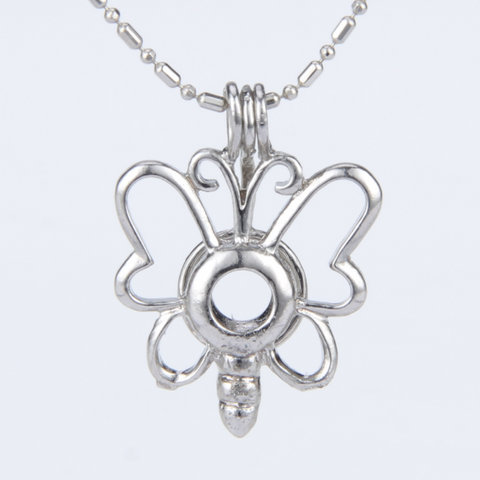 Spring Butterfly Akoya Pearl Pendant Necklace