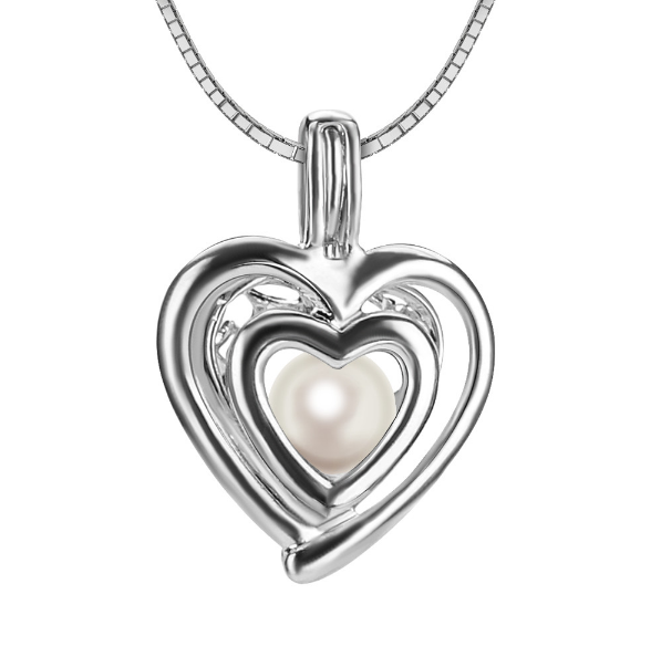Double Heart Akoya Pearl Pendant Necklace