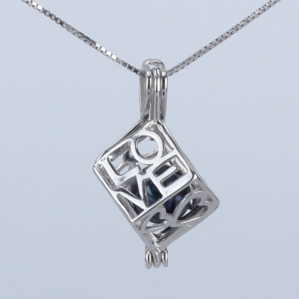 Cube of Love Akoya Pearl Pendant Necklace