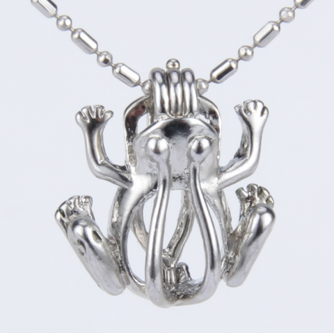 Fancy Frog Akoya Pearl Pendant Necklace