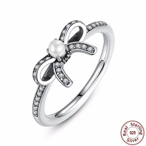 925 Sterling Silver Delicate Sentiments Ring with  White Pearl & Clear CZ