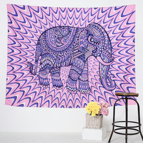 Purple Energy Elephant Tapestry