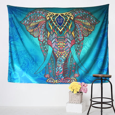 Blue Energy Elephant Tapestry