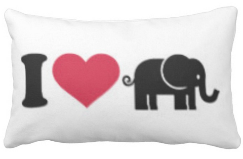 I Heart Elephant Lumbar Pillow Cover
